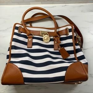 Navy & White stripe large Michael Kors Hamilton